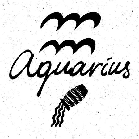 Aquarius zodiac hand drawing sign for horoscope. Usable for mystic  occult  palmistry and witchcraft alchemy. Vector. Stock Illustratie