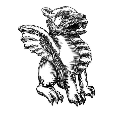 Mythological ancient gargoyle creatures human and dragon like chimera with bat wings. Mythical gargouille with sharp fangs and claws in seating position. Engraved hand drawn sketch. Vector.  イラスト・ベクター素材