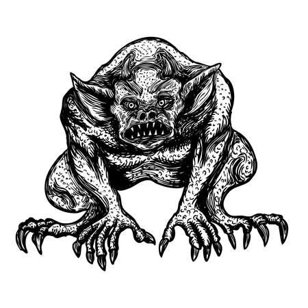 Démon, humain comme une chimère de créature monstre avec des crocs, des cornes et des griffes. Vecteur de diable gravé à la main mystique et occulte.
