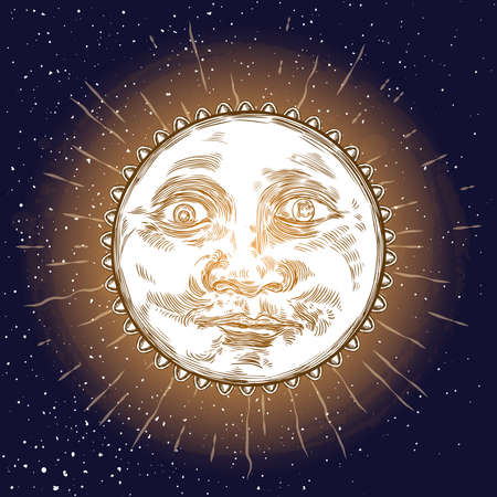 Sunrise engraving illustration. Vintage engraved sun with face of the human like. Anthropomorphic flash tattoo or print design. Vector  イラスト・ベクター素材
