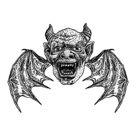 Cabeza de diablo con grandes cuernos o astas de demonio y colmillos afilados. Representación de ángel caído de Satanás o Lucifer con alas de vampiro. Gárgola humana como quimera criatura fantástica bestia con cara de miedo. Vector.