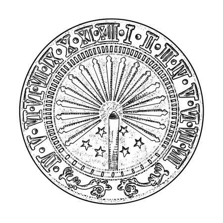 Dessin de cadran solaire ou d'horloge solaire. Dessiné à la main et isolé. Vecteur