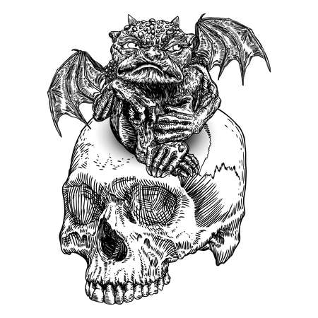 Mythological ancient gargoyle creatures human and dragon like chimera with bat wings. Mythical gargouille with sharp fangs and claws sitting on the human skull. Engraved hand drawn sketch. Vector.