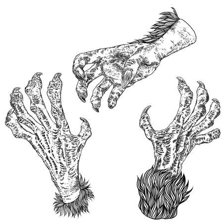 Halloween engraving drawings set of monsters hands, werewolf, witch, zombie, dragon, and vampire hands isolated on white background. Vector.