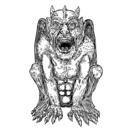 Anciennes créatures mythologiques animaux avec des ailes de chauve-souris. et corne. Gargouille mythique aux crocs acérés, dents et ongles ou griffes en position assise. Croquis dessiné à la main gravé. Vecteur. Vecteurs