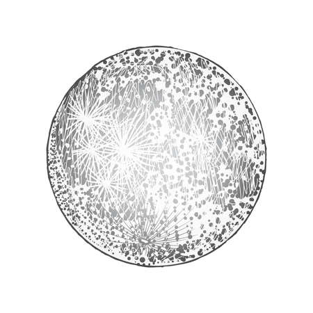 Full moon isolated. Antique vintage hand drawn line art and dot stipple work. Tattoo flesh design. Vector