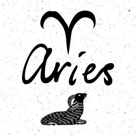Aries zodiac hand drawing sign for horoscope. Usable for mystic  occult  palmistry and witchcraft alchemy. Vector. Stockfoto - 120131838