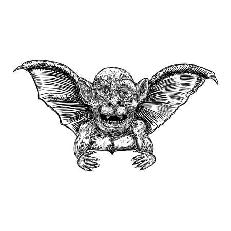 Mythological ancient gargoyle creatures human and dragon like chimera with bat wings. Mythical gargouille with sharp fangs and claws. Engraved hand drawn sketch. Vector.