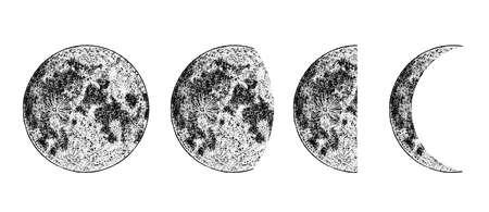 Imagen realista de las fases de la luna sobre fondo blanco. Ciclo dibujado a mano de fases lunares. Vector Ilustración de vector