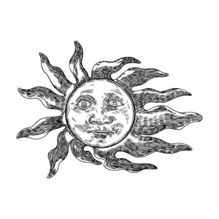 Hand drawn antique style sun with face of the human like. Anthropomorphic flash tattoo or print design Vector. Çizim