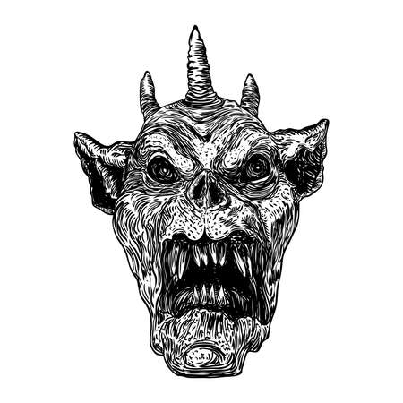 Devil head with big demon horns or antlers and sharp fangs. Satan or Lucifer fallen angel depiction. Gargoyle human like chimera fantastic beast creature with dark scary face. Vector.