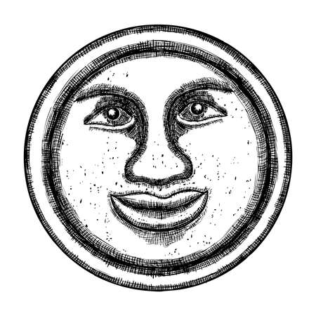 Hand drawn sketch of moon human like face or anthropomorphic planet in black and white, isolated on white. Detailed vintage style stipple drawing. Vector.  イラスト・ベクター素材