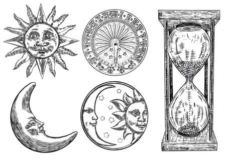 Ensemble de cadran solaire, horloge solaire, sablier ou horloge de sable et croissant de lune avec gravure solaire. Dessiné à la main et isolé. Vecteur Vecteurs
