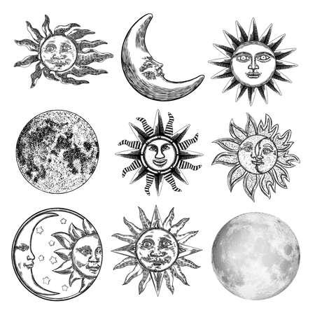 Ampio set di diversi stili di luna e sole. Schizzo disegnato a mano di mezzaluna e luna sciocco con viso umano o pianeta in bianco e nero, isolato. Disegno a puntini in stile vintage antico dettagliato. Vettore.