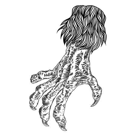 Engraving monster hand, zombie, werewolf, dragon or vampire palm hand with long nails in attack gesture. Vector.
