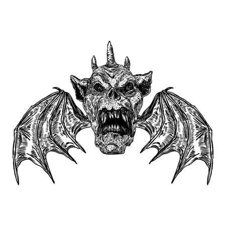 Testa di diavolo con grandi corna o corna di demone e zanne affilate. Raffigurazione di Satana o Lucifero angelo caduto con ali di vampiro. Gargoyle umano come creatura bestia fantastica chimera con faccia spaventosa. Vettore. Vettoriali
