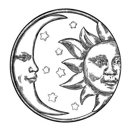 Hand drawn art sun and crescent moon. Flash tattoo design. Antique style design, isolated on white background. Vector