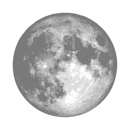 Realistic full moon. Astrology or astronomy planet design. Vector. 向量圖像