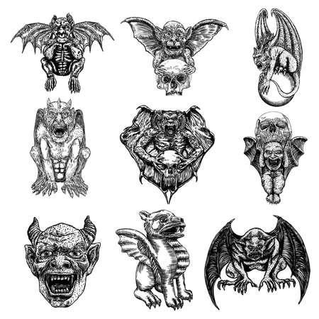 Set of mythological ancient gargoyle creatures, human and dragon like chimera with bat wings and horns. Mythical gargouille with fangs and claws. Engraved hand drawn sketch. Vector.