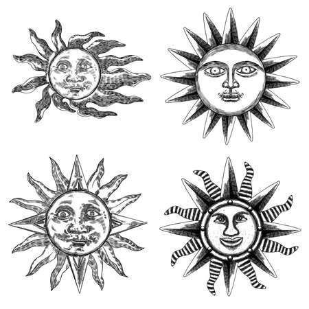 Set of hand drawn antique style sun with face of the human like. Anthropomorphic flash tattoo or print design Vector.  イラスト・ベクター素材
