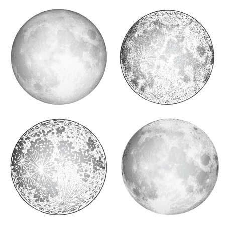 Set of realistic full moon and moon stipple drawing. Vintage engraving astrology or astronomy design. Vector.  イラスト・ベクター素材