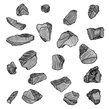 Stones hand drawn sketches set.  Stones and rocks in drawing hatching stipple style. Set of different boulders. Vector. Illusztráció