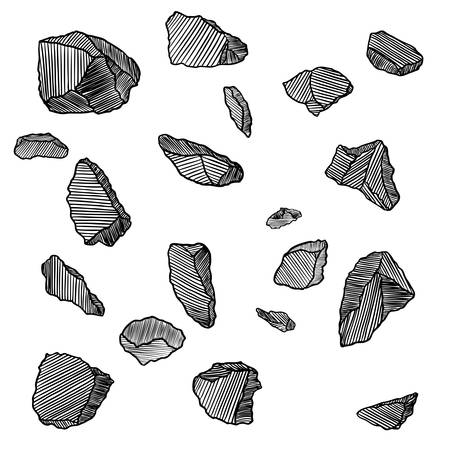 Stones hand drawn sketches set.  Stones and rocks in drawing hatching stipple style. Set of different boulders. Vector. Ilustração