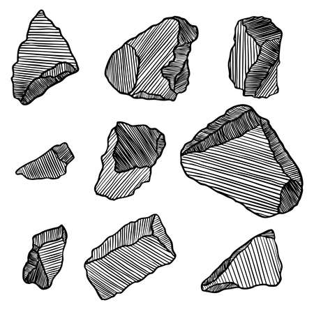 Gold rock or nugget set. Stones prill rubble. Magic crystals of different forms and shapes. Earth magical sacred elements. Vector.