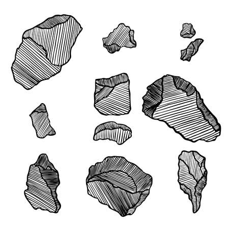 Rock stone set. Black and white stones and rocks in hand drawn hatching, wood carve style. Set of different boulders. Vector.