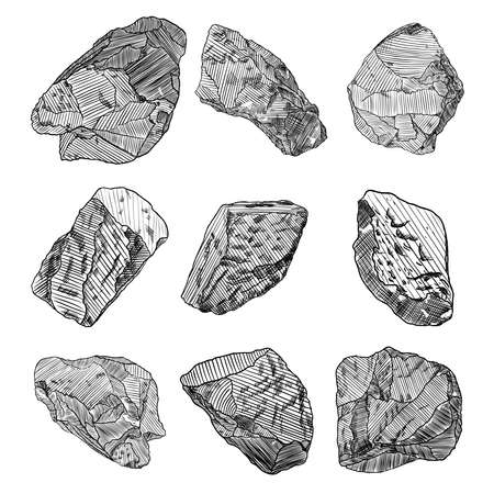 Stones hand drawn sketches set.  Stones and rocks in drawing hatching stipple style. Set of different boulders. Vector. Illustration