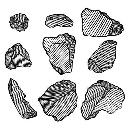 Estilo de dibujado a mano de piedra de roca. Gran conjunto de diferentes cantos rodados. Colección de diseño de arquitectura de escombros de piedras agrietadas y dañadas ilustradas. Pepita de oro o pepita de oro. Vector.
