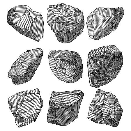 Large set of realistic hand drawn sketches stones and rocks. Different masonry stones, pebbles, marble, brick, mineral cobble isolated. Earth magical sacred elements. Vector.  イラスト・ベクター素材