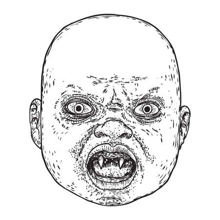 Little demon face with teeth. Hand drawing of baby devil. Halloween props. Vector.