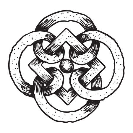 Hand drawing of sacred geometric symbol figure on white background. Mystic sign drawn in ink. Vector.