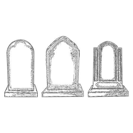 Set of tomb stone drawing. Grave for dead as Halloween tombstones prop. Hand drawn gravestone. Vector.  Stock Illustratie