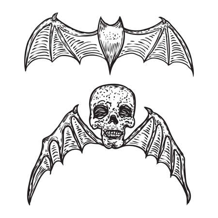 Set of bat vampire and winged skull. Open wings flying gothic monsters. Ink line engraving sketch in black. Human head with wings. Vector.
