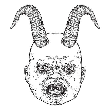 Baby demon with horns hand drawing. Fangs and teeth monster face. Little demon Halloween props. Vector.