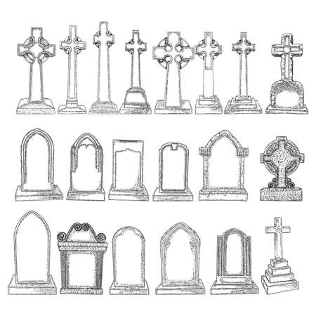Set of marble stones Christ cross drawings and tombstones. Symbol of Jesus, death, cemetery, Christianity, religion, faith and resurrection. Drawn isolated illustration on white background. Vector. Stock Illustratie