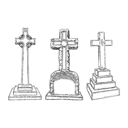 Gravestones set drawing. Old tomb rip grave on white background. Marble cemetery stone. Christian symbol of death. Vector. Stock Illustratie