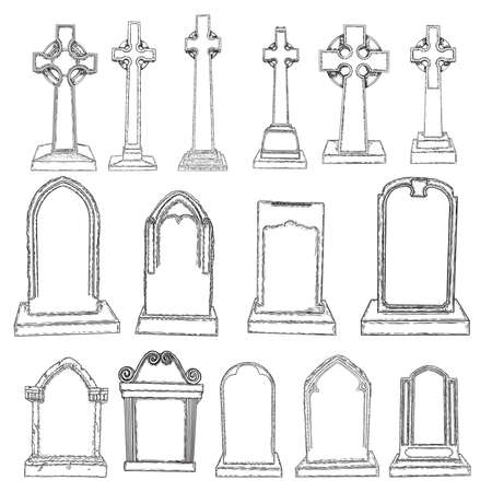 Set of marble stones Christ cross drawings and tombstones. Symbol of Jesus, death, cemetery, Christianity, religion, faith and resurrection. Drawn isolated illustration on white background. Vector.