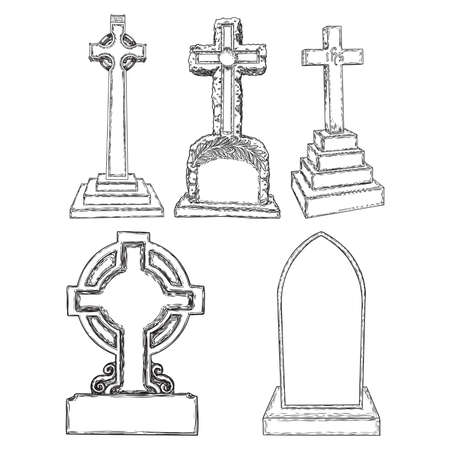 Set of tomb stone drawing. Grave for dead as Halloween tombstones prop. Hand drawn gravestone. Vector.