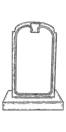 Tomb stone drawing. Grave for dead as Halloween tombstones prop. Hand drawn gravestone. Vector. Stock Illustratie