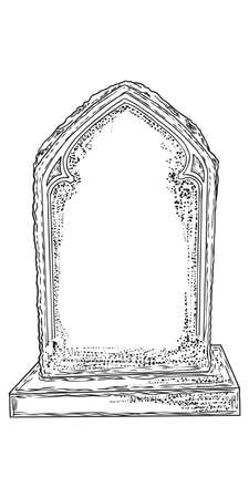 Cemetery tombstone made from stone hand drawing. Halloween props. Vector.