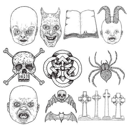 Alchemy symbol elements set. Baby demon with horns, devil, spell book, winged skull and bones, sacred symbol, spider, vampire bat, tombstone or grave. Spiritual occultism and chemistry. Vector.
