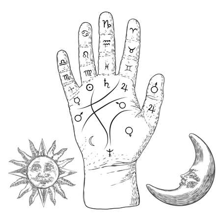 Palmistry. Esoteric occult symbols on hand, palm of prophecy or reading design with vintage sun and moon. Hand drawing. Vector.