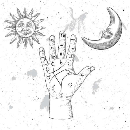 Chiromancy hand, ancient palm reading drawing and spiritual symbols. Divination and prediction, palmistry map on open hand with signs of the planets. Grunge background. Vector.