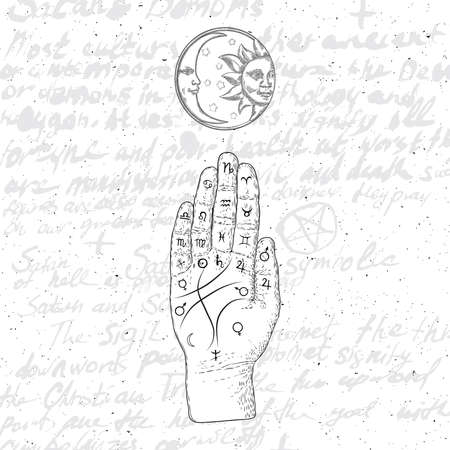 Chiromancy hand, ancient palm reading drawing and spiritual symbols. Divination and prediction, palmistry map on open hand with signs of the planets. Magic witchcraft writing background. Vector. Stock Illustratie