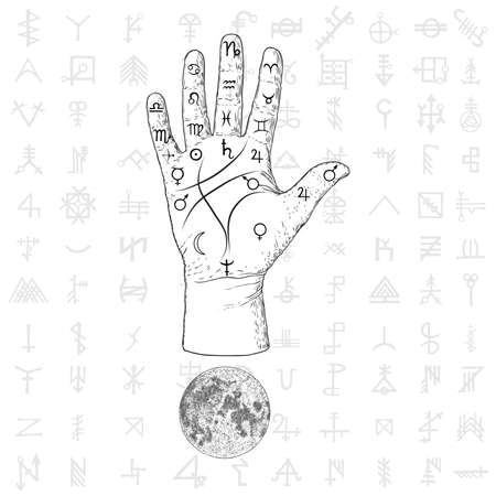 Fortune teller hand with Palmistry diagram hand drawn design. Vintage illustration for tattoo template. Palm reading magic spirituality zodiac constellations on sacred symbols background. Vector. Stock Illustratie