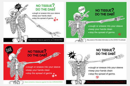 Set of Coronavirus flyers. Human skeleton sneezing into the sleeve or hand. Novel coronavirus 2019-nCoV prevention sticker with text. Concept of pathogen outbreak prevention and safety. Vector.