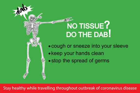 Coronavirus flyer. Human skeleton sneezing into the sleeve or hand. Novel coronavirus 2019-nCoV prevention sticker with text. Concept of pathogen outbreak prevention and personal safety. Vector. Stock Illustratie